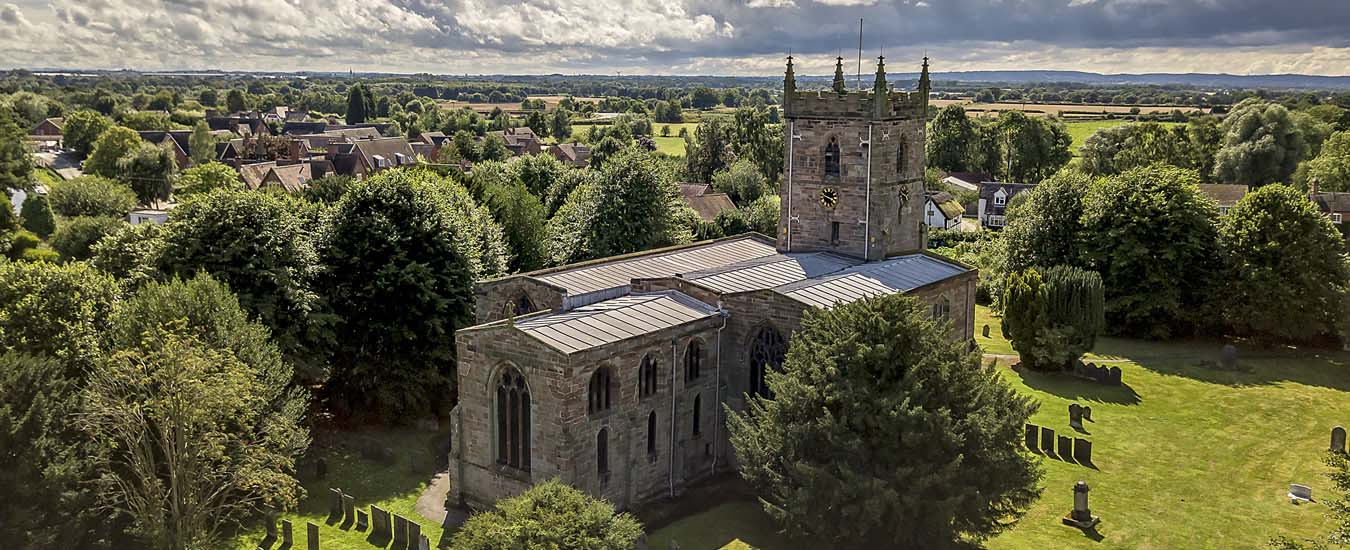 Aerial view of All Saints Parish Church Alrewas