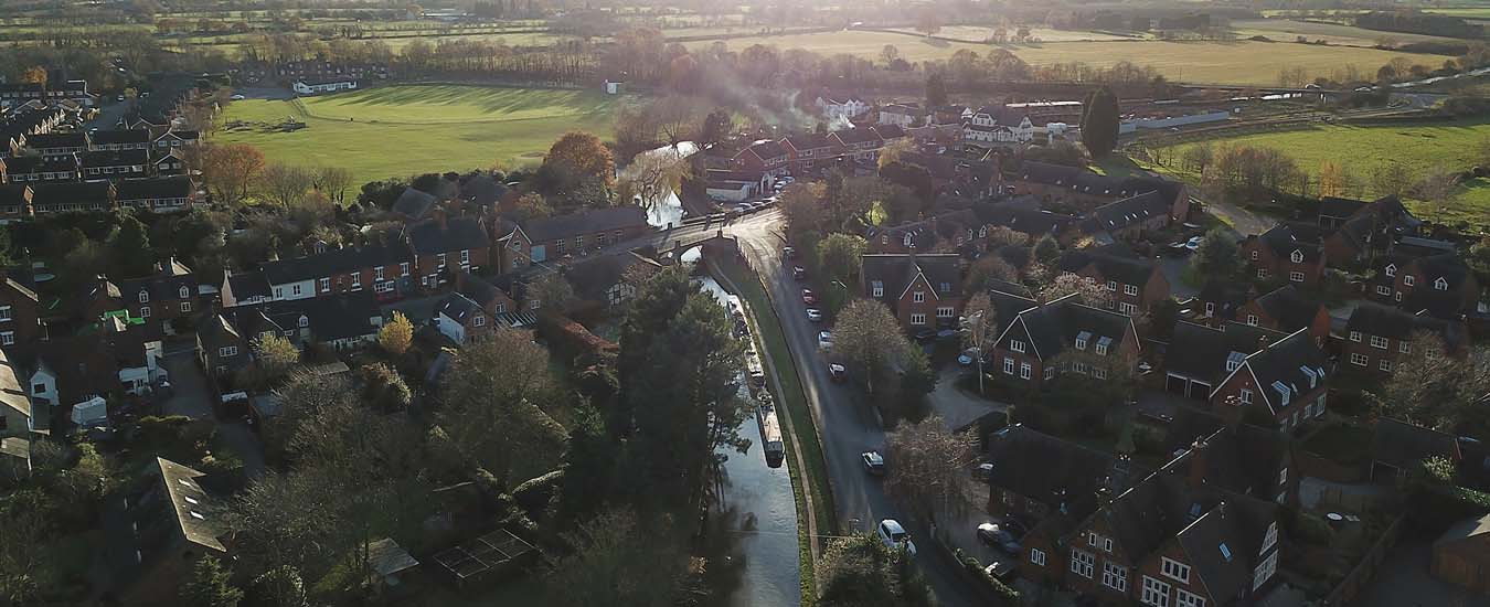 Aerial view of Mill End Lane Alrewas
